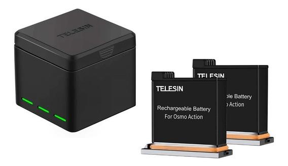 Carregador Triplo + 2 Baterias Para Dji Osmo Action Telesin