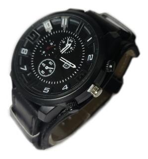 Reloj Pulsera De Hombre Moda Tendencia Malla Eco Cuero Negro