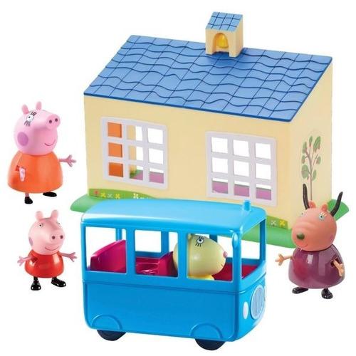 Peppa Pig Playset Escuela + Autobus Escolar 4 Personajes Edu