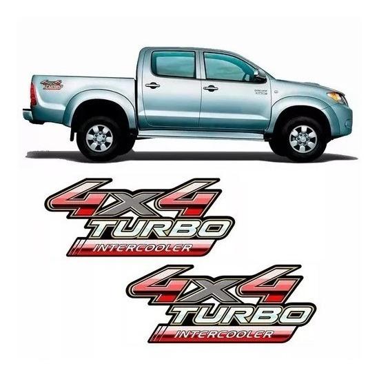 Par De Emblemas Adesivo 4x4 Turbo Intercooler Toyota Hilux