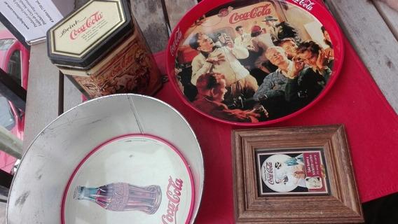 Lote Lata Bandeja Y Cuadrito Coca Cola Coleccionable Vintage