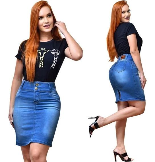 Kit 10 Saia Jeans Moda Evangélica Secretaria Feminina Top
