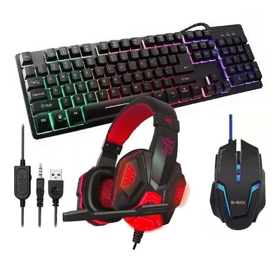 Kit Teclado Gamer Semi Mecânico Fone Headset Mouse 3200dpi