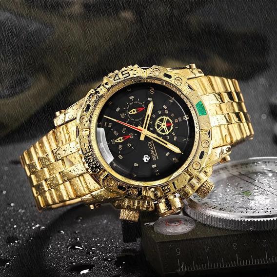 Relógio Temeite Original Dourado E Aço Inoxidável