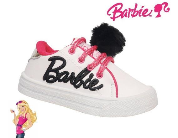 Zapatillas Nenas Simil Cuero Barbie Con Pompon Talle 21 A 26
