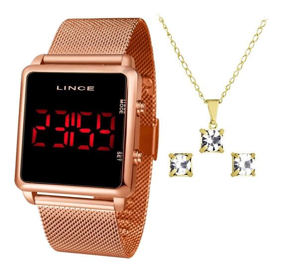Kit Relógio Digital Led Lince Feminino Mdr4596l Pxrx Rose Nf