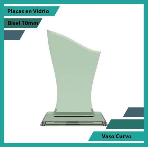 Placas Conmemorativas En Vidrio Vaso Curvo Plano