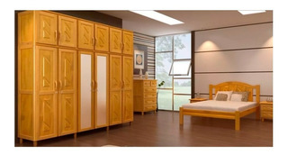 Juego Dormitorio 2 Plazas Combo Madera Maciza Color Miel Ebz
