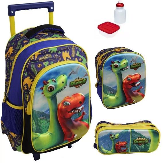 Kit Mochila Dinossauro Infantil Escolar 3d