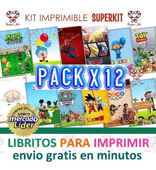 Kit Imprimible Libritos Para Pintar Pack X 12 Modelo 2