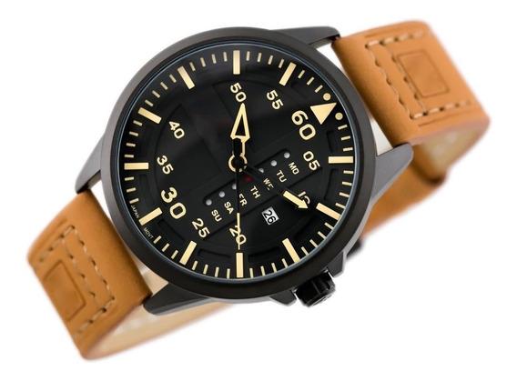 Relógio Masculino Tech Militar Esportivo Pulseira Couro Luxo