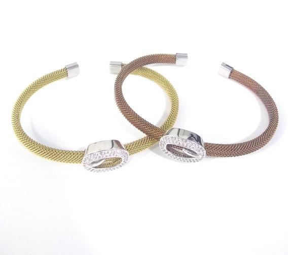 Kit Braceletes,promoção! Aço Inox C/ Detalhe Microzircônia.