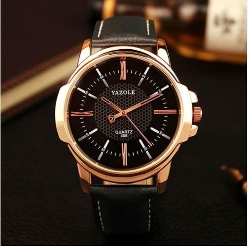 Relógio Masculino Dourado De Luxo Pulseira Couro Yazole 358