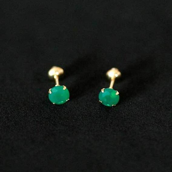 Rd001927 - Brinco De Ouro 18k 0750 Com Pedra De Zircônia Ve