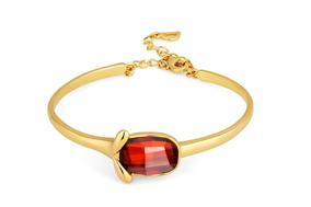 Bracelete Swarovski Cristal Vermelho Ouro 18k