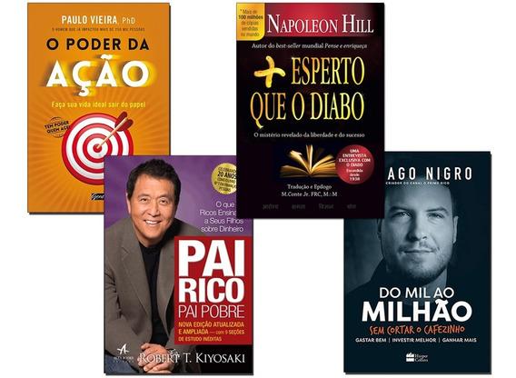 Livro Mil Ao Milhão+ Pai Rico Pai Pobre+ Poder Ação+ 1 Livro