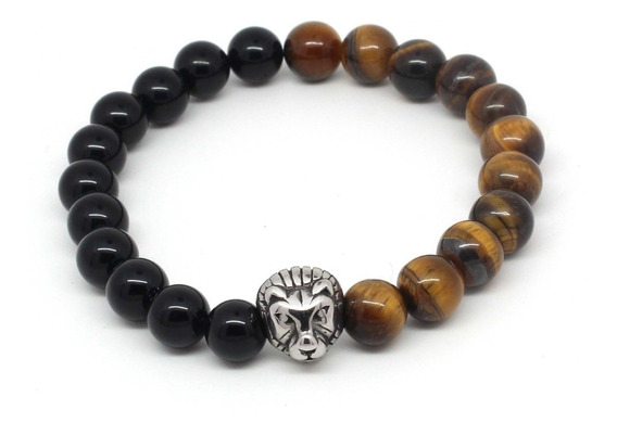 Pulseira Masculina Pedras Naturais Ágata Negra E Ônix