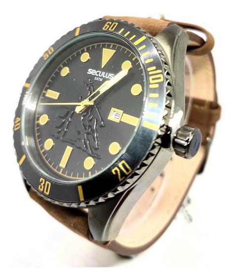 Relógio Seculus Masculino Pulseira De Couro 20830gpsvsc2