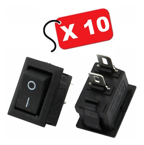 Imagen 1 de 3 de Micro Interruptor Switch Rocker Negro 2pin On-off / 10 Und