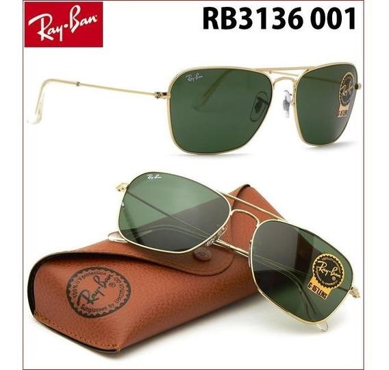 Óculos Ray-ban Rb3136 Caravan Original Dourado Verde G15