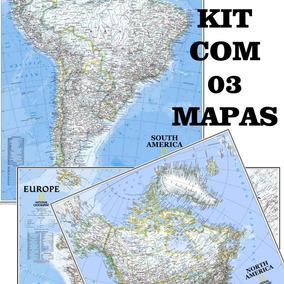 Kit C/ 03 Mapa Hd 65x90cm América Do Sul + Do Norte + Europa