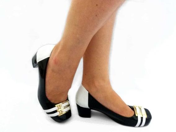 Sapato Feminino Social Salto Grosso Baixo