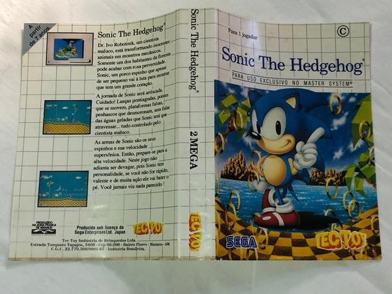 Master System : Apenas O Encarte Do Sonic 1 Tectoy Ótimo Est