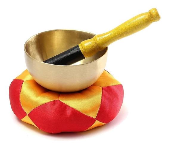 Tigela Cantante Com Almofada Sino Tibetano Prato Metal Reiki