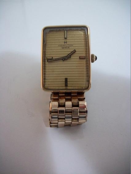 Relógio Hamilton Usado Quadrado Geneve Antigo Na Cor Dourado Funcionamento Perfeito A Corda, Bom Para Colecionadores.