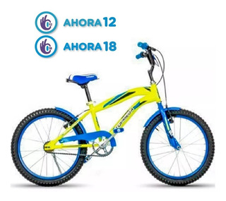 Bicicleta 20 Bmx Amarilla Azul Varon Top Mega Cross + Led