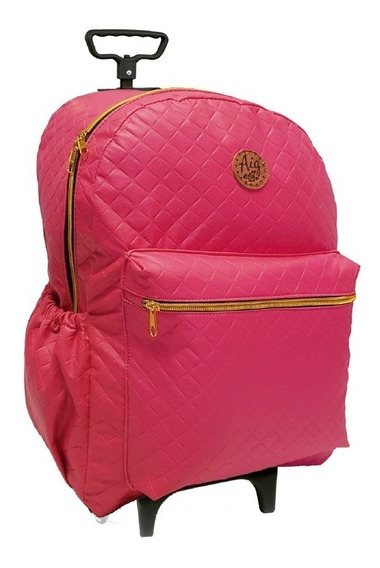 Mochila Com Rodinhas Feminina Matelasse Pink 41 Cm 6933 Aig