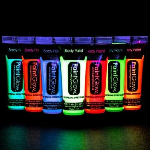 Pintura Neon, X 24, Fiestas, Disfraz, Glow In The Dark.