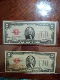 Billete De 2 Dolares Sello Rojo Año 1928