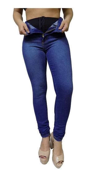 Calça Jeans Feminina Cinta Modeladora Interna Sawary Skinny