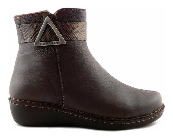 Botineta Mujer Cuero Cavatini Zapato Conofort Taco Mcbo24706