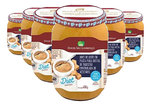Imagem 1 de 4 de Kit 6 Doce De Leite Diet São Lourenço 650g