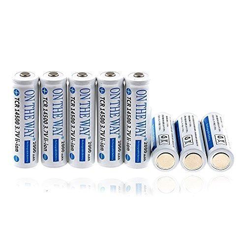 On The Way®14500 1200mah Li-ion 3.7v 8pcs Batería Recargable