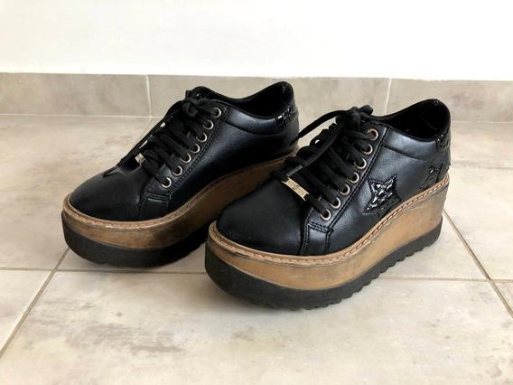 Zapatos Con Plataforma Y Madera - Nro 36
