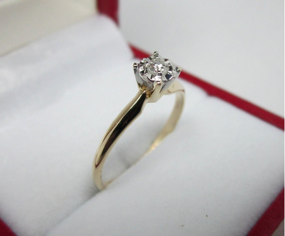 Anillo De Compromiso 14k Diamante Natural .5 Puntos G Vs1
