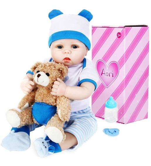 Bebes Reborn Niño Rubio Azul Osito 55 Cm Ojos Abiertos