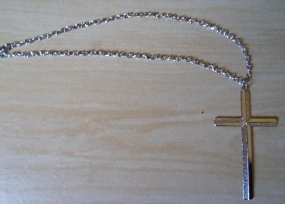 Corrente Colar De Crucifixo Masculino Cordão Prateado