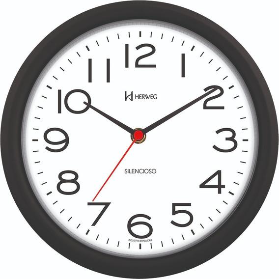 Relógio De Parede 22 Cm Silencioso Preto Herweg 660039-34