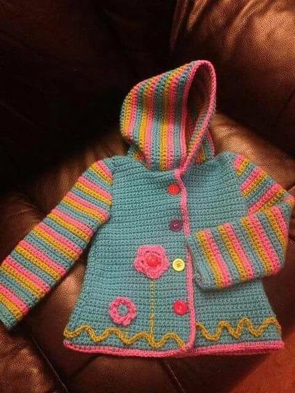 Saco Niña Tejido A Mano En Crochet