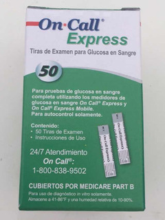 Tiras Para Glucomotro On.call Express