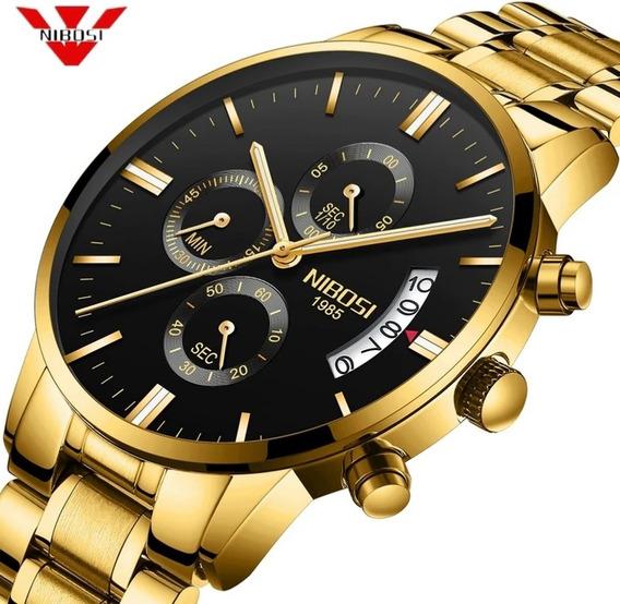Relógio Masculino Nibosi Dourado Funcional Envio Imediato