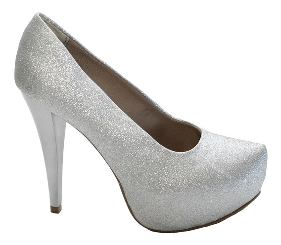 Sapato Meia Pata Gliter Glamour Prata Salto 12 Ref.: 94979