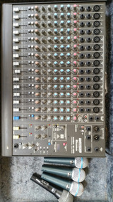 Mesa De Som, Com Multicabo De 12 Canais, 4 Microfones,