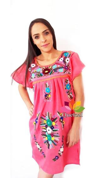 Vestido Dama Bordado Mexicano Artesanal A Mano