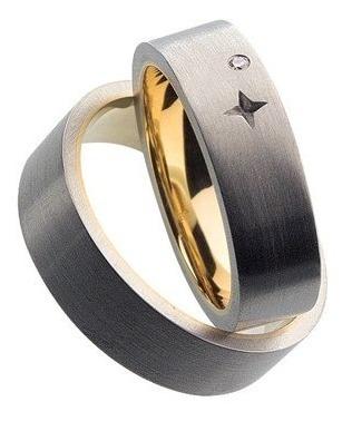 Anel / Aliança H Stern Ouro Aço E Diamante
