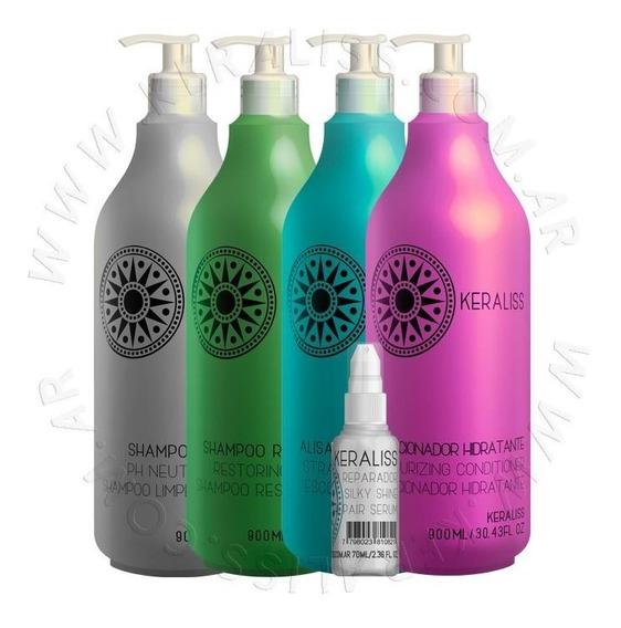 Alisado Shampoo Neutro, Repararador Balsam Y Serum Keraliss